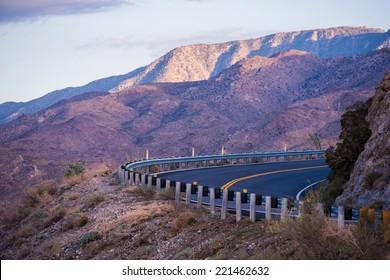 Mountain Road in Southern California. Coachella Valley Area. California, USA.
