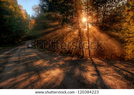 Mountain road sunrise with
