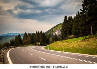 Mountain road in a Tatry mountain in Slovakia in may