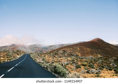 Mountain road in Tenerife. Mountain road, Canary Island Tenerife, Spain. Road to volcano Teide at Tenerife island - Canary Spain