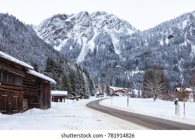 Mountain road through Partenen - a town in the Montafon, in Vorarlberg, Austria.