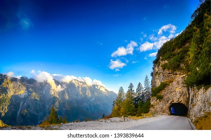 Mountain road tunnel landscape view. Mountain tunnel road. Mountain road tunnel. Mountain road tunnel view