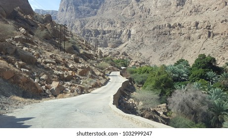 Mountain road at Wadi Shab, Oman