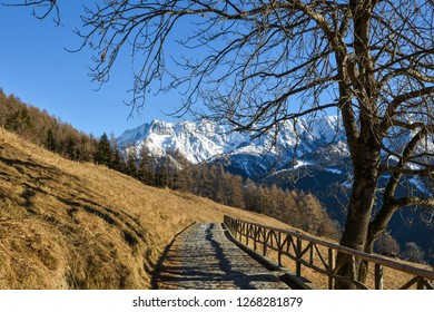Mountain Road in winter with beautiful Mountain Background in Valle di Cané