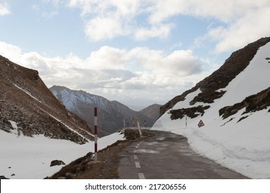 Mountain road in winter, snowy day