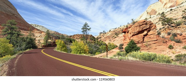 mountain road in Zion National Park in the fall