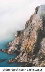 Mountain rock and sea landscape Travel aerial view of wilderness nature scenery