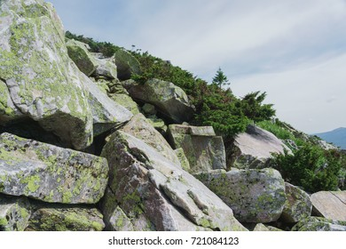 Mountain rocks and slopes of the Southern Urals. Alpine meadows in the national Park Taganay