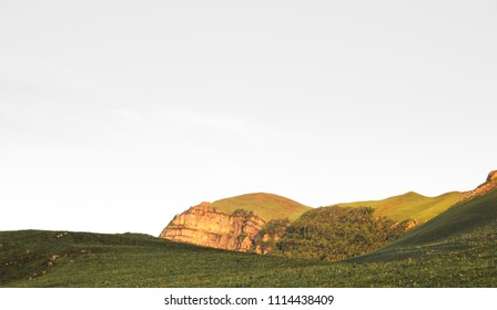 Mountain and rocky hills landscape during sunset time