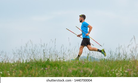 Mountain runner during the preparation of a long distance trail