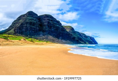 Mountain sand beach landscape. Sea shore sandy beach. Sea beach at mountain. Sandy beach landscape