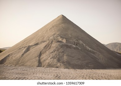 Mountain of sand in a quarry.
