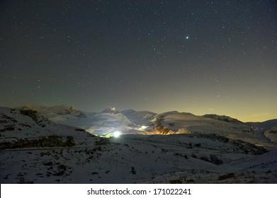 Mountain scene at night. Lessinia, near Verona, Italy.