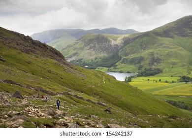 mountain scene on cloudy day, lake district, england