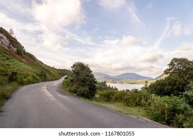 Mountain scene of a road in the English Lake District, Cumbria, United Kingdom