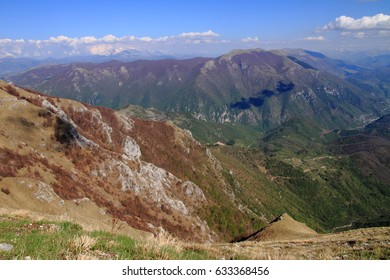 Mountain scenery in the Apennines Mountains, Italy, with dense forests and deep valleys ,small countries; infinite horizons concept, freedom of expression concept, freedom concept, wide views concept.
