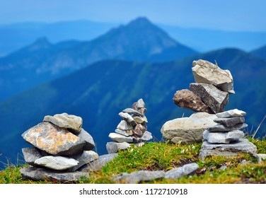 Mountain scenery with balanced stone towers