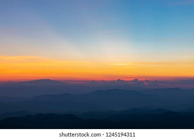 Mountain scenery during the sunrise