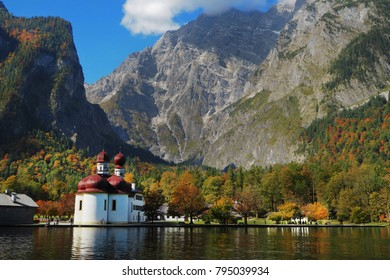 Mountain scenery with Lake Konigssee with world famous St Bartholomae