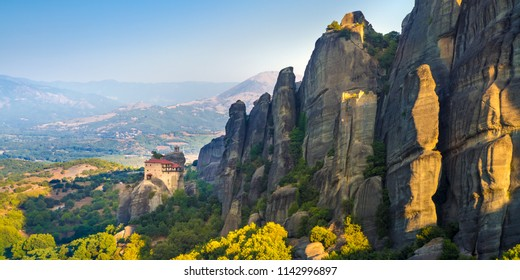 Mountain scenery with Meteora rocks and Roussanou Monastery, landscape place of monasteries on the rock.