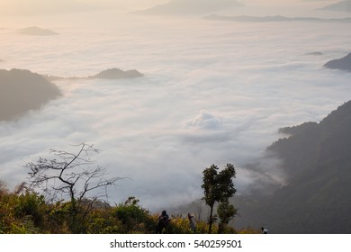 Mountain scenery with mist clouds at view point in the morning, Abstract background