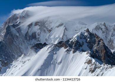 Mountain scenery in Mont Blanc range, Aosta Valley, Italy