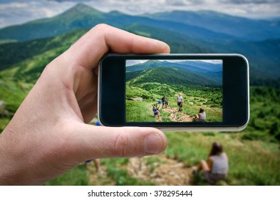 mountain scenery, nature in the mountain heights Photo by man photographed on a smartphone, the spring in the mountains