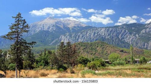 mountain scenery in nature park near kemer, antalya, turkey