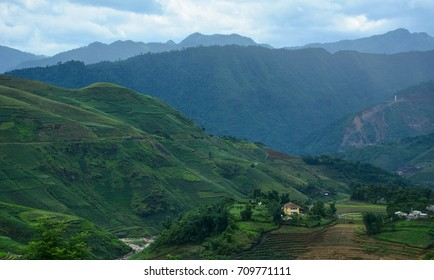 Mountain scenery in Sapa Township, Northern Vietnam. Sapa is located in northwest Vietnam, 380 km northwest of Hanoi close to the border with China.