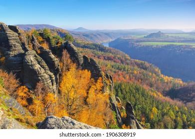 mountain Schrammsteine in Saxon Switzerland in autumn, Germany