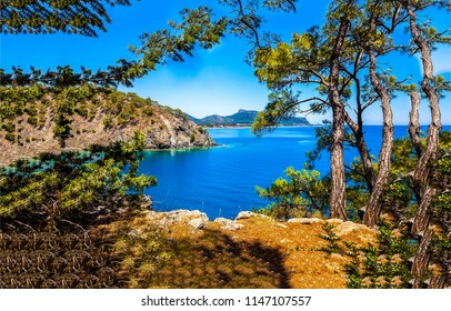 Mountain sea bay landscape. View at sea bay in mountains. Mountain sea bay panorama