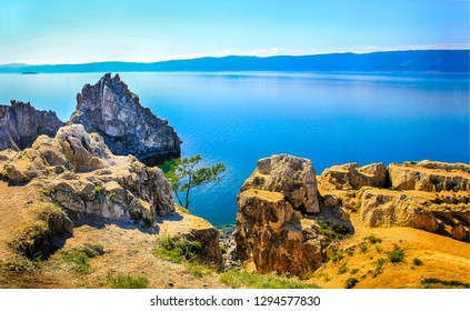 Mountain sea bay panorama. Panoramic mountain sea bay landscape. Blue lagoon in mountain sea bay. Mountain sea bay view