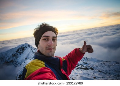 Mountain selfie in winter time