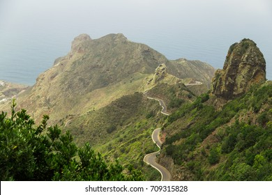 Mountain serpentine. The road is mountainous. The way from Anaga to Benijo beach. Stunning top view. Tenerife, Canary Islands, Spain.