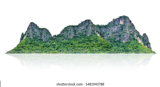 The mountain is a set of isolated islands on a white background with a trail.