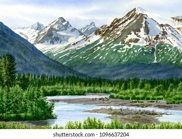 Mountain Shadows Glacier Valley peaks snow