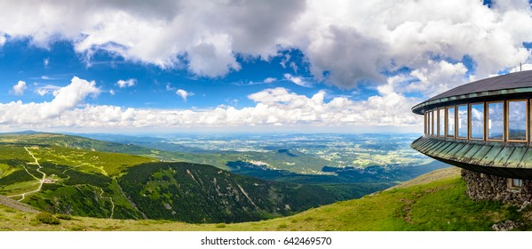 Mountain shelter and meteorological observatory at the top of Sniezka mountain - Karkonosze, Poland