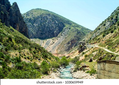 Mountain side stream running to join the Nahr-Litani river system of the Beqaa (Bekaa) Valley of Lebanon. Vital spring snow-melt water is collected in cisterns for distribution to farms and vineyards.