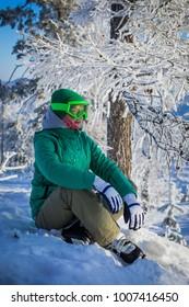 A mountain skier on the mountain