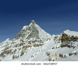 Mountain skiing, panoramic view on Matterhorn peak - Monte Cervino, Italy. Mountain situated on the border between Switzerland and Italy, over the Swiss Zermatt and the Italian town of Breuil-Cervinia