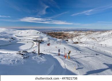 Mountain skiing - Pradollano, Sierra Nevada, Spain