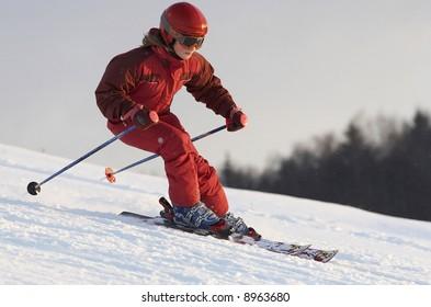Mountain skiing school training