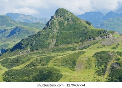 Mountain with skiing slopes during summer