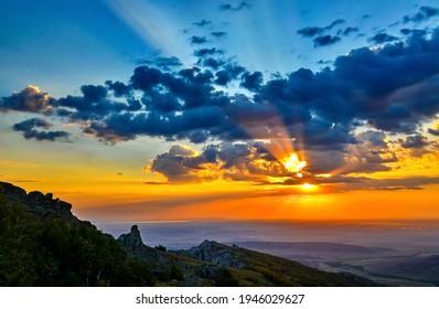 Mountain sky clouds dawn landscape. Sunrise sky clouds. Sunrise dawn sky view - Shutterstock ID 1946029627