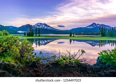 Mountain and Sky Reflection in Sparks Lake near Bend Oregon