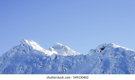 mountain, snow and clear sky