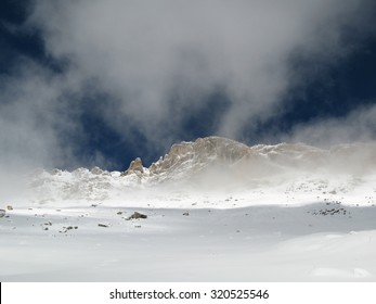 Mountain with snow and fog in Tikjda in Kabyli, nord of Algeria