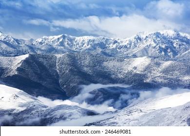 mountain snow landscape nature around Huanglong, Sichuan, China