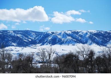 Mountain snow in the winter season.
