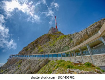 Mountain station with Antenna Pole on the mountain Saentis in the Appenzell Alps in Switzerland